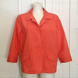 CHICO'S orange tailored stretch cotton blazer 2